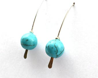 Turquoise magnesite on hammered silver wire earring