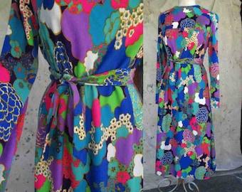 Big Bright floral print dress 70s Neon Flowers dress 70s vintage Party Dress 70s print dress by Miriam Suskin M