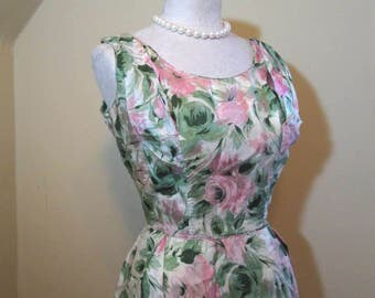 60s Pink Roses Dress Silk Floral Dress 60s vintage dress Silk Roses vintage party dress Full skirt Vintage Wedding Bridesmaid Dress M
