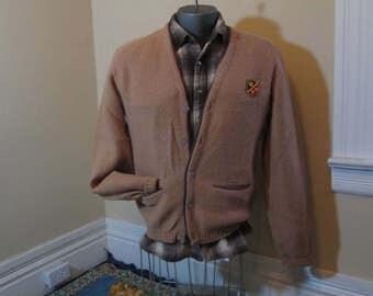 Camel Tan 50s Wool Sweater Vintage Shetland Wool 50s Cardigan sweater Vintage Camel wool Sweater button front Crown shield patch M