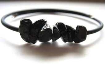 Tourmaline Bracelet, Black Tourmaline Stone Bounce Back Cuff Bracelet , Handmade Artisan Gemstone Jewelry
