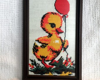 Vintage Needlepointed Yellow Baby Chick with Balloon -  Framed Wall Hanging - Beautifully stitched and Professionally Framed Under Glass