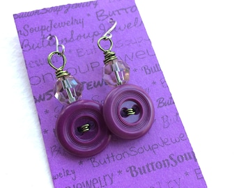 Royal Purple with Lime Green Wire Vintage Button Dangle Earrings