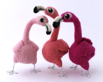 Needle Felted Flamingo Pink Flamingo Bird Decoration
