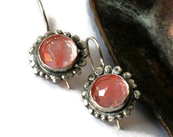 Pink Stone Earrings, Pink Drop Earrings, Silver Earrings Dangle, Cherry Quartz Jewelry