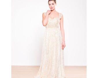 Gold Sequin Tulle Wedding Dress - Amanda