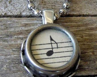 SALE Music Pendant Necklace, Typewriter Key Necklace Setting,  Vintage Musical Note, Classical Music