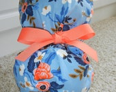 Turn Up Ponytail Scrub Hat in Periwinkle Flower CHOOSE RIBBON Color