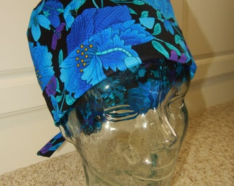Tie Back Surgical Scrub Hat in Royal Plume
