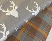 Gray Plaid fabric, Hello Bear fabric, Buck Forest, Gray Buck fabric, Grizzly Plaid, Christmas Plaid- Fabric Bundle of 2, Choose The Cuts