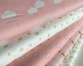 Gold Fabric, Baby Nursery Gold Fabric, Pink Gold Nursery fabric, Pink Nursery fabric, When Skies are Gray Bundle of 5- Choose the Cuts