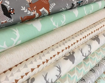 Hello Bear fabric, Woodland baby quilt fabric, Forest Bedding fabric, Arrow fabric, Deer fabric, Fabric Bundle of 8- You Choose the Cut