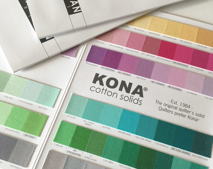 Kona Color Card, Kona Swatches, All 303 colors included, Quilting Cottons, Cotton Solid Fabric Chart, Robert Kaufman, Quilting reference