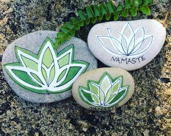 YOGA STONES...3 hand painted beach stones, home decor yoga studio namaste lotus flower, original art,rocks Christmas gifts pebbles