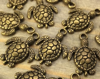 Sea Turtle Charms - 12 pcs - Bronze Charms - Nautical - Beach Charms - Patina Queen