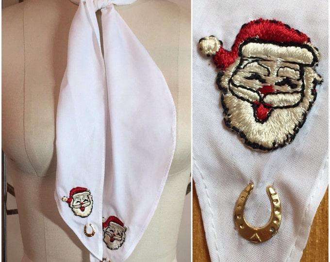 White Western Vintage Santa Embellished Scarf with Lucky Horseshoe
