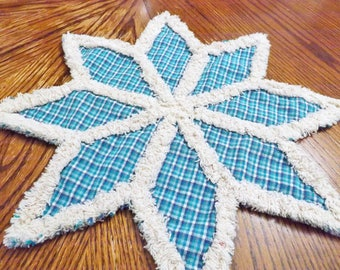 Rag Quilt Trivet - Candle Mat - Blue Snowflake Trivet - Homespun Trivet - Homespun Candle Mat - Table Decor - Christmas and Winter