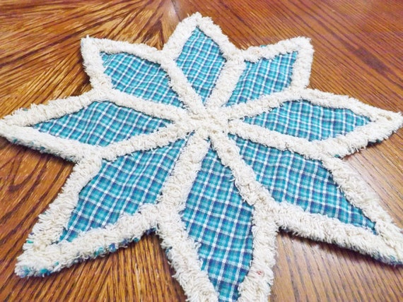 Blue Snowflake Rag Quilt Trivet or Candle Mat made with Pretty Blue Homespun Plaid