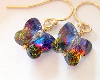 Artisan Swarovski Crystal Blue Purple Red Butterfly 14kt Gold Dainty Boho Hippie Summer Festival Gypsy Gift for Her Dangle Earrings
