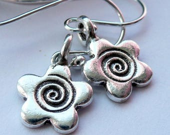 Artisan Fine Silver Flower Swirl Charm Sterling Silver Boho Hippie Minimalist Spring Summer Festival Gift for Her Dainty OOAK Earrings