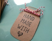 Mason Jar Tags, Handmade With Love Tags, Baked Goods, Holiday Gifts, Wedding Tags, Shop Tags, Baking Labels, Jar Labels