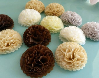 Button Mums 1 inch Tissue Paper Flowers Wedding, Bridal Shower, Baby Shower Decor, Coffee, Cream, Tan, Espresso