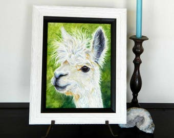 Alpaca Art, Original Alpaca Painting Framed, Alpaca Print. country decor, kids decor, nursery decor, farm decor, peruvian art, llama art