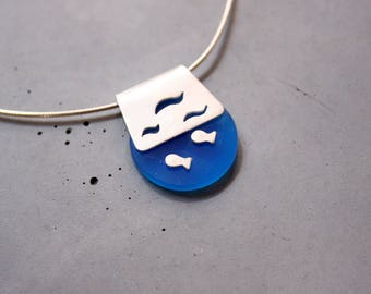 Sterling Silver Necklace with Ocean Life, Plexi and Silver necklace, Marine Life, Underwater necklace