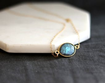 Flash Labradorite Necklace choker Layering necklace blue grey and gold Vitrine Designs