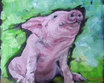 Morning Smile! Pig Art, Country art, DIGITAL DOWNLOAD 8 by 8