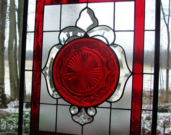 stained glass panel Ruby Tribute  Avon Cape Cod