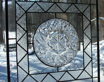 Fostoria Crystal stained glass plate panel