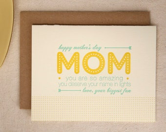 Name in Lights Mother's Day Card