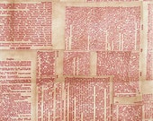 Tim Holtz DICTIONARY Red PWTH008 Fabric - Cuts by HALF Yard Increments