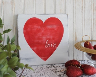Valentine Sign Love Heart Hand Painted Wood Worn Finish Romantic Wedding