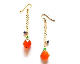 Long Gold Chain Carnelian Lapis Gemstone Earrings / Carnelian Gold Geometric Earring / 14k Gold Filled Earrings Blue Lapis Orange Carnelian
