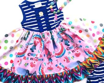 Trolls movie dress Cupcake and Rainbows Momi boutique custom dress