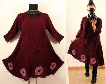 Loose Casual Short Wein Red Fairy Pixie Floaty Flower Tunic DRESS < Floral Lagenlook Spring Summer Plus Size 14 16 18 20 1x 2x