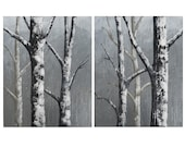 SALE Winter Wonderland canvas painting - trees in snow - winter landscape - snowing - forest painting - holiday seasonal decor - forest art