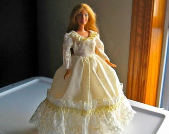 ON SALE Barbie Dress Ivory Eyelet and Lace