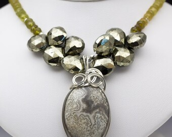 Crazy Lace Agate, Pyrite & Grossular Sterling Silver Wire Wrap Pendant Necklace