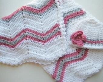 READY TO SHIP Crochet Baby Girl Blanket Gift Set, Baby Shower Gift, Travel Chevron Blanket, Ripple Blanket - Pink Gray White Baby Blanket
