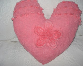 Pink Chenille Heart Pillow From Vintage Fabric, Home Decor or lovely Valentine Gift