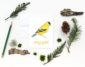 Goldfinch Card / Washington State Card / Greeting Card / Stay Gold Card / Bird Card / Pacific Northwest Card / Washington / Cascadia Card