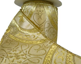 """Bright Metallic Gold On Gold Intricate Medieval Pattern Wired Ribbon  4"""" Wide"""
