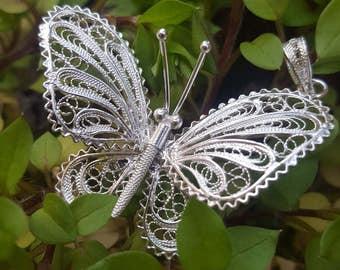 Butterfly - silver filigree pendant