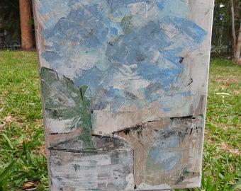 Summer's first Bloom Hydrangea - acrylic on canvas