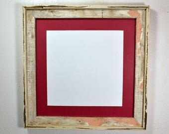 Shabby chic 16x16 reclaimed wood frame 12x12 mat 20 mat colors to choose from