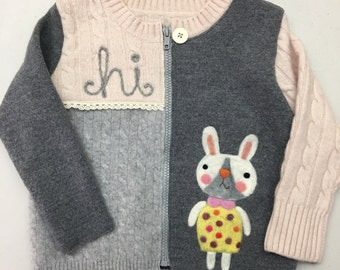 Bunny Love - Child's Sweater Jacket - Pieced Recycled Wool with Needle Felting, size 2-3 OOAK HANDMADE by Val's Art Studio