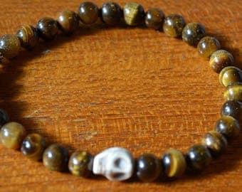 Tiger eye  & Skull Stretch Bracelet